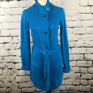Burton | Blue Belted Long Cardigan Sweater S